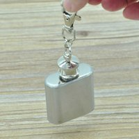 Home 10 Oz. Stainless Steel Hip Flask With Key Chain Outdoor Portable Small Flask Pocket Whiskey Bottle Hip Flask