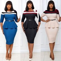 Casual Dresses African For Women 2021 Autumn Clothing Color Matching Knee-length Dress Fashion Office Africa Plus Size