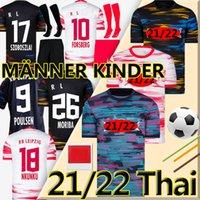 2021 2022 Leipziges Jerseys de futebol Szoboszlai 21/22 RBL Camisa de futebol Poulsen Nkunku Silva Olmo Koneate Sabitzer Kluivert Halstenberg Men + Kits Kits Sock Conjuntos Completos