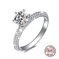 Wedding Rings Luxurious 1.2ct 7MM Cubic Zirconia Silver Plated Ring Women's Engagement Fashion Jewelry Drop
