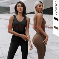 LU Yoga Tracksuits One Piece Sport Clothing Backless Suit Workout Tracksuit For Women Running Tight Dance Sportswear Gym female Set Y957L