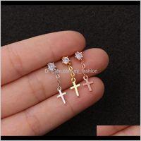 Jewelry1Piece Piercing Stud Women Jerwelry Heart Cross Flower Zircon Pendant Earrings Wholesale Gifts For The Year Drop Delivery 2021 Gsvyu