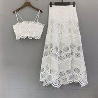Designers de designers de luxo europeu elegante feriado oco-out bordado casual de duas peças