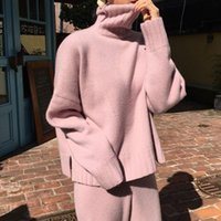 Women 'S Knitted Suits Autumn Winter Knitted Pants +Loose Thick Turtleneck Sweaters Wide Leg Pants Trousers Two -Piece Set T200916