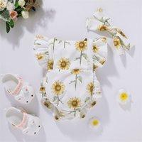 Säugling Born Jungen Mädchen Kleidung Sommer Kurzarm Drucken Sonnenblume Bogen Kopfschmuck Nette Baby Strampler Outfits 210629