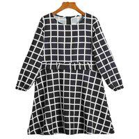 Plaid Black Princess Dress cotton women's long sleeved spring and autumn girls' dress