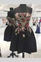 Sexy Black and Red Floral FLowers Gold Lace Short Homecoming Prom Dress 2022 Above the Knee Strapless A line Satin Evening Party Graduation Cocktail Dresses