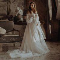 Vintage Dots Bianco Tulle Dress di maternità lungo fuori dalle maniche a soffio a spalla Abiti da sposa Principessa Gravidanza Vestiti Casual Abiti Casual