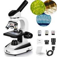 Microscópio de Telmu 40x-1000x, LED Iluminação Microscópios Monocular Compostos com 10 Slides para Crianças / Estudantes / Adulto