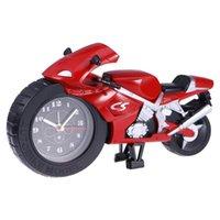 Мультфильм будильник мотоцикл модель уникальный подарок для любителей моторных детей без батарей (красный) настенные часы