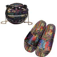 Fashion Graffiti Slides And Basket Borses Set Set di sandali casual piane Borsa da borse da sandali che corrisponde alle scarpe da donna pantofole