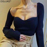 DGLUKE Mode Frauen Pullover Square Kragen Langarm Pullover Jumper Gestrickte Pflaster Tops Damen Elegante Pullover Schwarz Weiß 210908