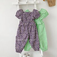 Girls Suit Plaid Floral U Neck Blouse Trousers Summer Fashion Baby Kids Cute Childrens Clothing