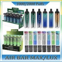 Air Bar Max Lux Diamante Dispositivo Dispositivo Pods E Cigarro Airbar 1250Mah Cartuchos Preffurados 6.5ml Starter Kits 20 Cores Vaporizador Oil Cartins