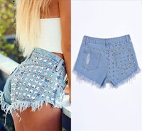 Strappato Tassel Womens Breve Jeans Solid Color Sexy Skinny Jean Shorts con tasche Casual Denim Denim Denim