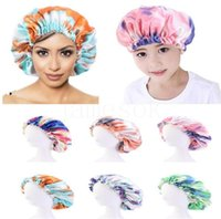 Mommy And Me Satin Bonnet Adjustable Double Layer Sleep Cap Parents Kids Tie dyed Turban Hair Cover Night Hat 28-36cm 6 Colors DD039