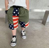 2021 Yaz Çocuk Tasarımcı Şort Bebek Yıldızı Şerit Eklenmiş Plaj Beş-Cent Pantolon Moda Çocuk Camo Karikatür Kısa Pantolon S1278