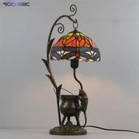 Lâmpadas de mesa Bochsbc tiffany estilo manchado vermelho libélula azul máscara arte decoração lâmpada mouse tanque de óleo frame colorido mesa luzes