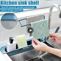 Telescopic Sink Shelf Organizer Soap Sponge Holder Drain Rack Storage Basket Kitchen Gadgets Accessories