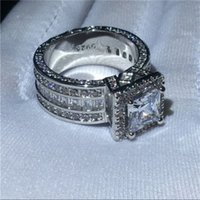 Vintage Princess Diamond Ring Silver Rings Jewelry Engagement Wedding band Rings for Women Men Party Jewelry 830 T2