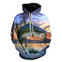 Autumn broken and winter 3D water carp print men's sweater fashion Hooded European size Pullover Sweater 3033