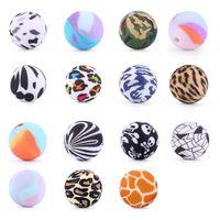 15mm silikon runda pärlor tryckta personifierade zebra, leopard, ko, kamouflage, skalle print för DIY