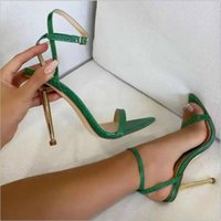 Dress Shoes 2021 Ankle Strap Green Women's High Heels 11CM Sandals Pointed Toe Female Party Sandalias De Mujer