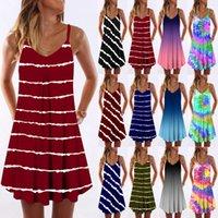 캐주얼 드레스 유럽 및 미국 여성 플러스 사이즈 스파게티 스트랩 민소매 섹시 넥타이 염료 그라디언트 능 직물 수평 인쇄 V-Neck Suspender Dress S / M / L / XL