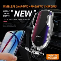 R2s 10w Smart Wireless Car Charger Charging Magnetic Induction Air Vent Mount Car Phone Holder Universal Automatic Clamping MQ20