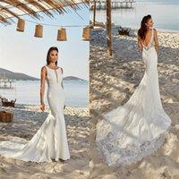 Elegant Mermaid Wedding Dresses Jewel Sleeveless Appliqued Lace Bridal Dress Backless Ruched Satin Sweep Train Custom Made Bridal Gown