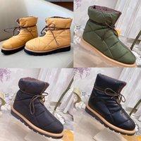 Ankel kudde designer ner vinter stövlar spets-up snö varma platta skor monogram mönster kvinnor snöboot hög kvalitet no330