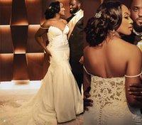 2022 дизайнерские кружева свадебное платье плюс размер русалки свадебные платья V шеи аппликации с плечо сатин сексуальные леди брачные платья