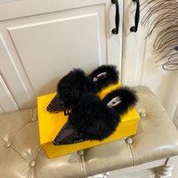 2021 Pantofole Inverno Versione coreana coniglio capelli appuntiti Baotou fondo piatto semirimorchio femminile moda moda moda in lana