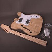 Kit de guitarra eléctrica de bricolaje Cuerpo de ceniza semi-huecos con agujeros F cuello de arce 22 trastes