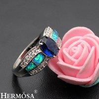 Cluster Rings Hermosa Big Promotion Blue Australian Opal Women Ring Wedding Size 6 7 8 DF33