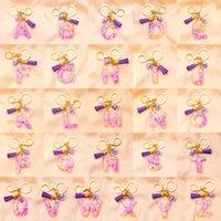 شفافة الاكريليك الملونة الترتر شرابة المفاتيح حقيبة الأزياء قلادة المرأة الذهبي جراد البحر المشبك 26 خطابات الإنجليزية حلقة رئيسية
