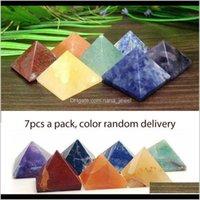 Beads sueltas Joyas Drop Entrega 2021 Paquete de 7 Chakra Pyramid Set Crystal Healing Wicca Espiritualidad Tallas Piedra natural Cuadrado de cuarzo T