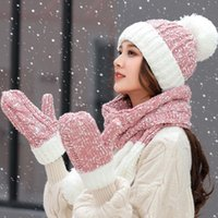 Beanie Skull Caps 3-Piece Set Winter Hats For Women Female Hat Scarf Gloves Ear Protection Warm Thick Knitted