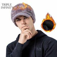 Dreifache Infinity Marke Männer Hut Winter Dicke Strickmützen Winddicht Warme Komfortable Outdoor Schal Integrierter Radhut Männliche Kappe Q0911