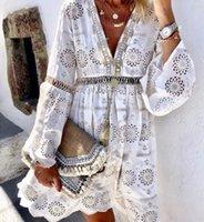 해변 수영복 드레스 튜닉 여름 플러스 사이즈 2021 가을 레이스 순수한 색 긴 소매 패치 워크 캐주얼 드레스