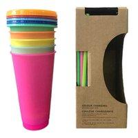5pcs Tumblers riutilizzabili Colore Cambiare tazze fredde Estate Magic Plastica Tazze da caffè Bottiglie d'acqua con cannucce Set per Family Friends Cup 24oz