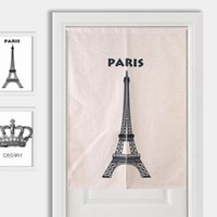 Carpets Effiel Tower Crown Glasses Door Curtain Linen Tapestry Study Bedroom Home Decor Kitchen Curtains Customizable 85x120cm 85x90cm