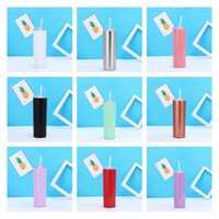 20oz 304 stainless steel skinny bottle mugs with straw cup cold insulation automobile cup 9 colors Drinkware Sea shipping T2I52015