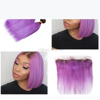 Dark Roots 1B purple 3Bundles With Free Part Frontal 13x4 Ombre Purple Colored Straight Brazilian Virgin Hair Weaves With Lace Frontal