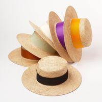 Дети сплетенные широкополитенные соломенные шапки летние мальчики девочек широкая лента плоскостные оттенок дети портативный Panama шляп тура Cap A6266