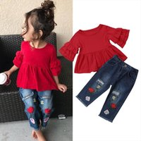 1 6y Fashion Summer Kids Baby Clothes Sets Ruffles Sleeve Red T Shirts Tops Floral Print Blue Hole Denim Pants