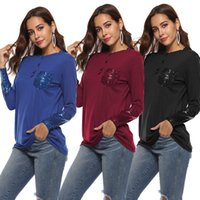 New Fashion Autumn Spring Tops T-shirt Casual Button V Neck Ladies Cotton Tops Long Sleeve Sequined Summer Top