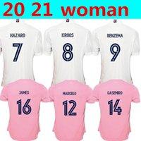 2021 New Real Madrid Home Away Women Home # 7 Hazard Soccer Jersey 2019 مدريد Asensio ISCO Kroos Marcelo فتاة كرة القدم قميص موحد