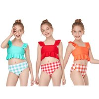 Women's Swimwear ISHOWTIENDA Girls Fashion Toddler Kids Baby Summer Small Ruffle Solid Color Plaid Split Swimsuit Clothes