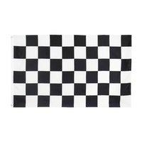 Toptan Doğrudan Fabrika Fiyat 100% Polyester 3x5fts 90x150 cm Siyah Beyaz Kare Damalı Yarış Araba Bayrağı Dekorasyon için GWD5721